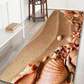 Coral Velvet Beach Shell Non-slip Bathroom Rug