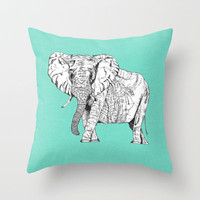 two ways to see one elephant Throw Pillow by Bianca Green