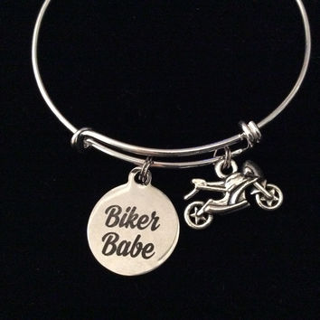 Biker Babe Silver Expandable Charm Bracelet Adjustable Bangle Gift Trendy Teenager Stacking