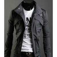 Autumn Style Pockets Decorated Cotton Male Jacket Grey M/L/XL @S5-255-1g $33.99 only in eFexcity.com.