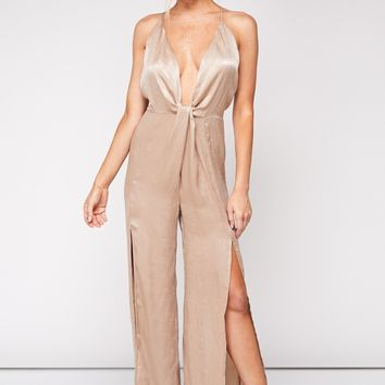 Eyes Are Up Here Satin Jumpsuit in Taupe