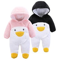 Newborn Snowsuit Winter Baby Rompers Hoodie Fleece Boys Panda Coat Girls Sleeping Bag  Baby Snow Coveralls Infant Snow Clothes