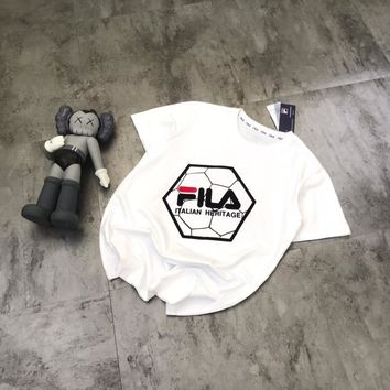"""FILA"" Unisex Casual Fashion Letter Short Sleeve Couple T-shirt Tops Tee"