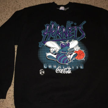 Sale!! Vintage 1990s CHARLOTTE HORNETS Basketball Sweaters NBA Jersey tee shirt Made in usA