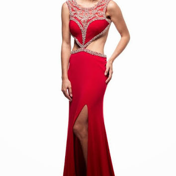Kari Chang KC27 Red 2 Piece High Neck Backless Prom Dress