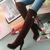 botas femininas 2015 knee boots women fashion long boot winter footwear high heel shoe
