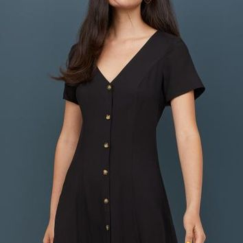 V-neck Viscose Dress - Black - | H&M US