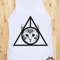 Deathly Hallows Cat Shirt I Like Cats Shirt Women Tank Top Women Shirts White Shirt Tunic Top Singlet Vest Sleeveless Women T-Shirt Size M
