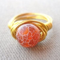 Dragon Veins Agate Wrapped Brass Wire Ring Size 6.5