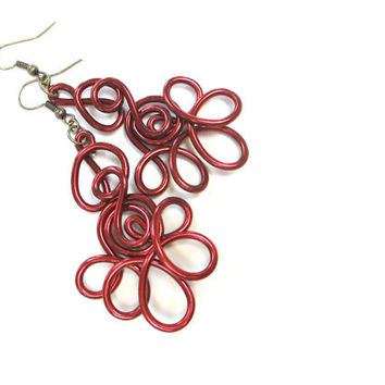 Oxblood Earrings Burgundy Wire Art Lacy Dangle Unique Jewelry Abstract Flower