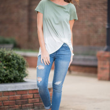 Fade Fascinations Top, Army Green
