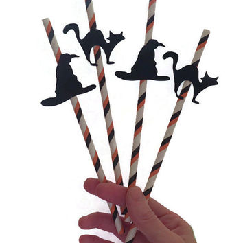 Witch hats and black cats Halloween straws, Halloween party decorations, Ready in 1 week, 12CT, black and orange, spooky decor, witches, cat