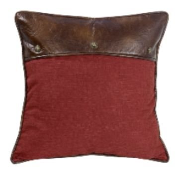 Cowgirl Kim Ruidoso Red Linen and Faux Leather Euro Shams~ Shams Only