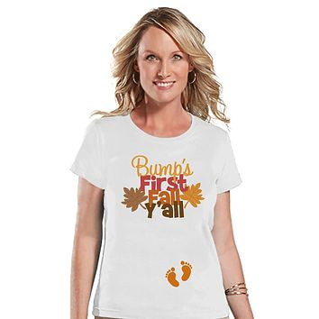 Custom Party Shop Womens Bump's First Fall Pregnancy Announcement T-shirt