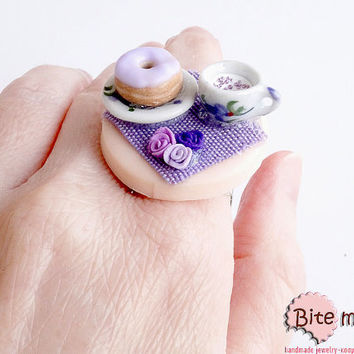 SALE Black Friday- Mini Food Donut on the Table Ring, Miniature Food Jewelry, Polymer Clay Jewelry, Handmade Ring, Foodie Gift, Kawaii Jewel