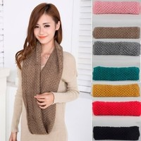 Winter Women's Warm Infinity 2 Circles Cable Knit Cowl Neck Long Scarf Shawl