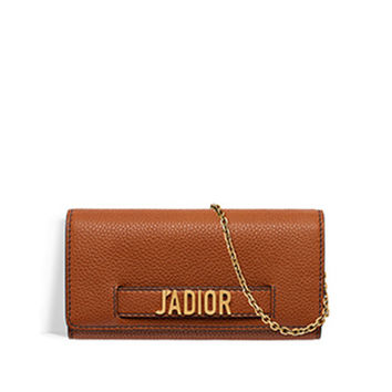 J'adior croisière wallet in brown grained calfskin - Dior