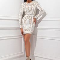 Tony Bowls TS21452 - White Beaded Fitted Jersey Cocktail Dresses Online