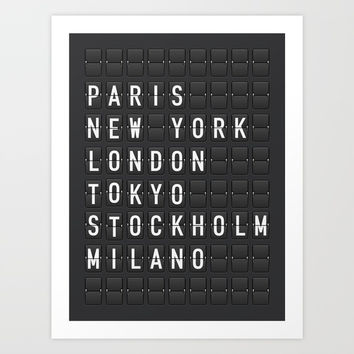 Paris, New York, London, Tokyo, Stockholm, Milano Art Print by printapix
