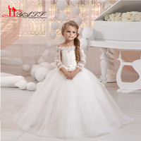 Lovely Princess Flower Girl Dreses 2016 Sheer Lace Neck Long Sleeve Pearls Girls First Communion Dress Kids Prom Gowns