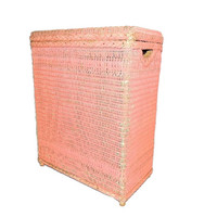 Pink Shabby Wicker Hamper Vintage Bathroom Laundry c1960s
