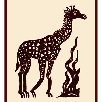Russian Folk Art Animal Giraffe by Issachar Ber Ryback's Counted Cross Stitch or Counted Needlepoint Pattern