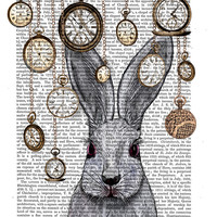 Rabbit Time, White Rabbit Alice in Wonderland Print Original Illustration Art Print Painting, Rabbit Print rabbit picture rabbit art