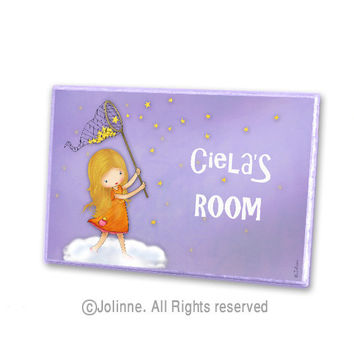 Girls door decor personalized door sign children art kids room sign