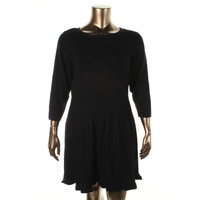 Style & Co. Womens Plus Cable Knit Boat Neck Sweaterdress