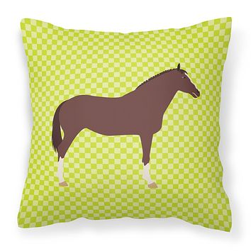 English Thoroughbred Horse Green Fabric Decorative Pillow BB7739PW1818