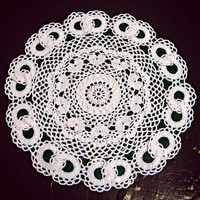 Wedding Lace Doily with Hearts and Joined Wedding Rings from Heritage Heartcraft