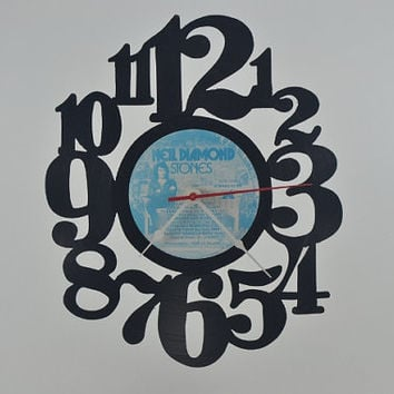 Vinyl Record Clock Music album wall clock  (artist is Neil Diamond)