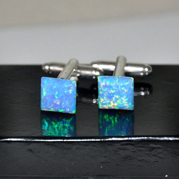 Opal Cufflinks, Gemstone Cuff Links, BLue Opal, Gift For Him, Unique Gift, Blue Cuff Links, Square Stone,  Australian Opal,  Jewelry for him