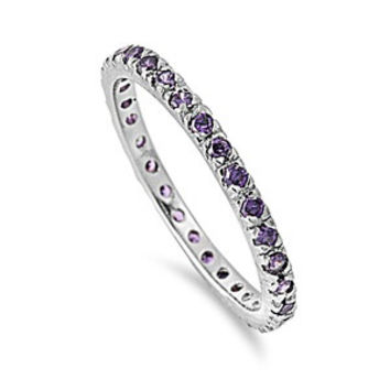925 Sterling Silver CZ Stackable Eternity Simulated Amethyst Ring 2MM