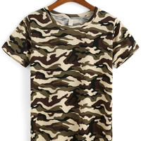 Camouflage Print Short Sleeve T-shirt