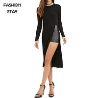 On Sale Ladies Round Neck Long Sleeve Black Street Wear Casual Loose High Street Side Slit Long Slim T Shirt FWomen