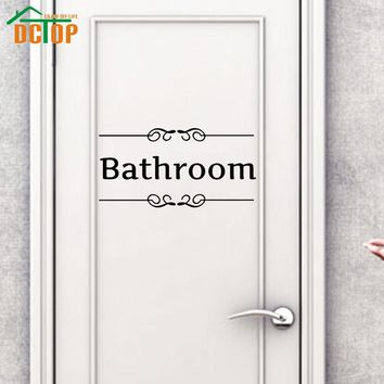 DCTOP Bathroom Wall Stickers Home Decor Door Sign Decoration Adhesive Stickers Removable Vinyl Art Wall Decals