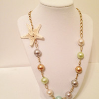 Gold Multi-Pearl Starfish Necklace