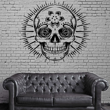 Skull Happy Hippie Scary Creepy  Decor Wall Stickers Vinyl Decal (z2269)
