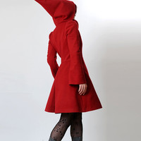 Red hooded Coat with tall collar - Camille - Size S or CUSTOM