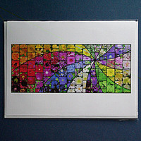 Garden Swirl Mosaic single card with envelope, reproduction of original print, 100% PC recycled paper, multicolored, card161
