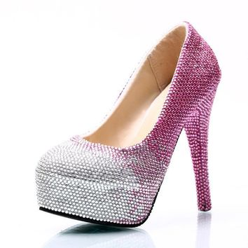 Gradient Rhinestone Platform Super Stiletto High Heels Party Shoes