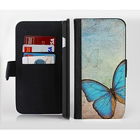 The Vivid Blue Butterfly On Textile Ink-Fuzed Leather Folding Wallet Credit-Card Case for the Apple iPhone 6/6s, 6/6s Plus, 5/5s and 5c