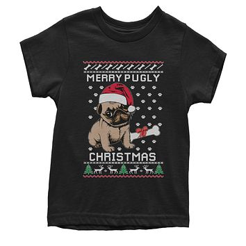 Merry Pugly Christmas Ugly Christmas Youth T-shirt