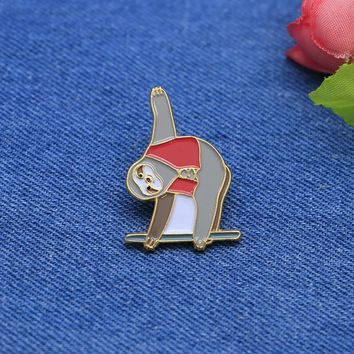 Trendy Cartoon Brooches Red Vest Sloth Enamel Pin for Girls Boys Lapel Pin Hat/bag Pins Denim Jacket Shirt Women Brooch Badge SC4237 AT_94_13