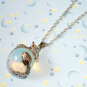 Mystical Opal Quartz Crystal Orb Dragon Necklace