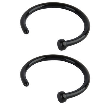 20G 2pcs Hot Stainless Steel Nose Open Hoop Ring Earring Body Piercing Jewel NW