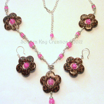 Hot Pink Leopard  Necklace Earring Set