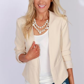 Contemporary Fitted Blazer Beige