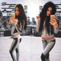 Long Sleeves Hoodie Drawstring Pant PU Patchwork Two Pieces Set